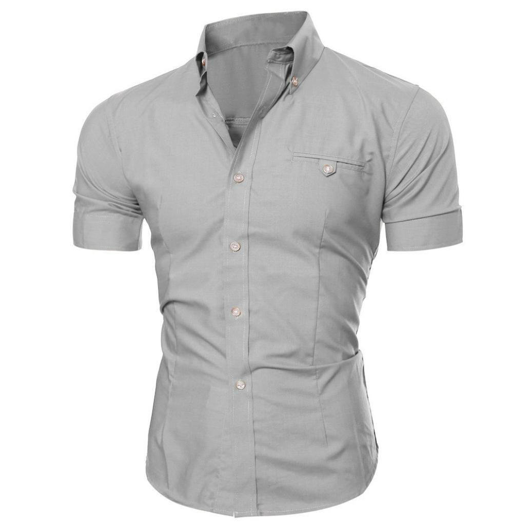 Men Slim Fit Shirts Short Sleeve Casual T-shirt Collar Neck Button Business Tops