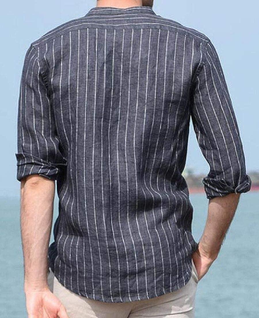 Domple Mens Long Sleeve Regular-Fit Linen Stand Collar Stripe Button Up Shirt