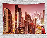 Cityscape Tapestry, Dubai at Night Cityscape with Tall Skyscrapers Panorama Picture Arabian Peninsula, Wall Hanging for Bedroom Living Room Dorm, 80 W X 60 L Inches, Pink Gold