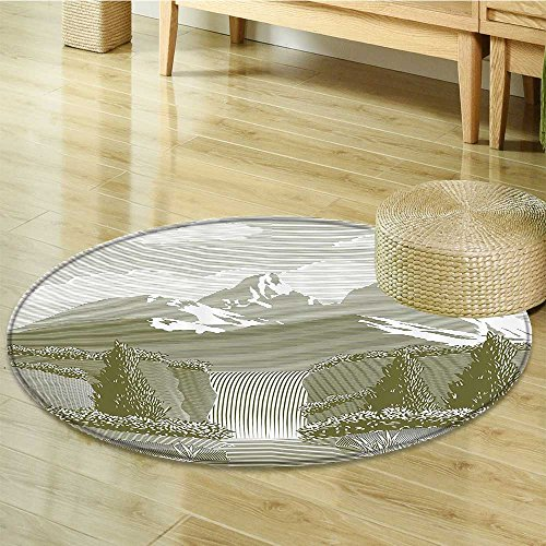 Nalahomeqq Natural Waterfall Decor Collection Woodcut Style Mod Illustration of Mountain Stream and Waterfall Paradise Art Polyester Fabric Room Circle carpet Extra Sage Green-Diameter 170cm(67