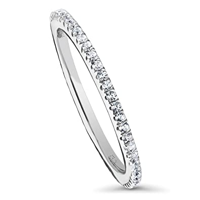 BERRICLE Rhodium Plated Silver Cubic Zirconia CZ Woven Anniversary Stackable Eternity Ring
