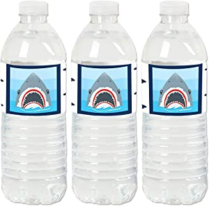 Big Dot of Happiness Shark Zone - Jawsome Shark Viewing Week Party or Birthday Party Water Bottle Sticker Labels - Set of 20