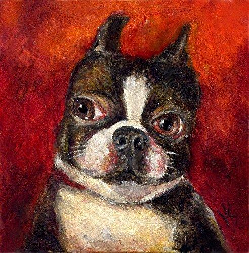 Whimsical Portrait Framed (Boston Terrier Dog Giclee Art Print, Modern Tiny Pet Portrait, Size & Mat Options Available)