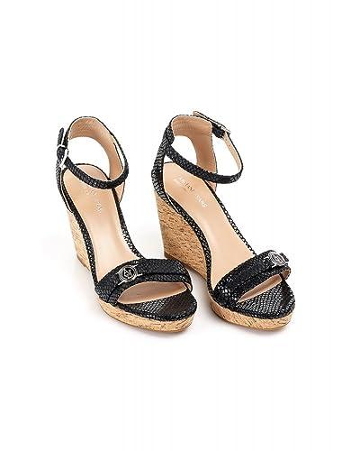 9329f4b4e5a Armani Jeans Black Cork Wedge Sandals  Amazon.co.uk  Shoes   Bags