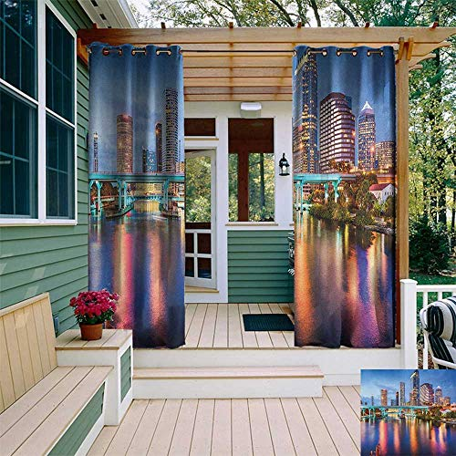 (leinuoyi City, Outdoor Curtain of Lights, Hillsborough River Tampa Florida USA Downtown Idyllic Evening at Business District, Fabric by The Yard W84 x L96 Inch Multicolor)
