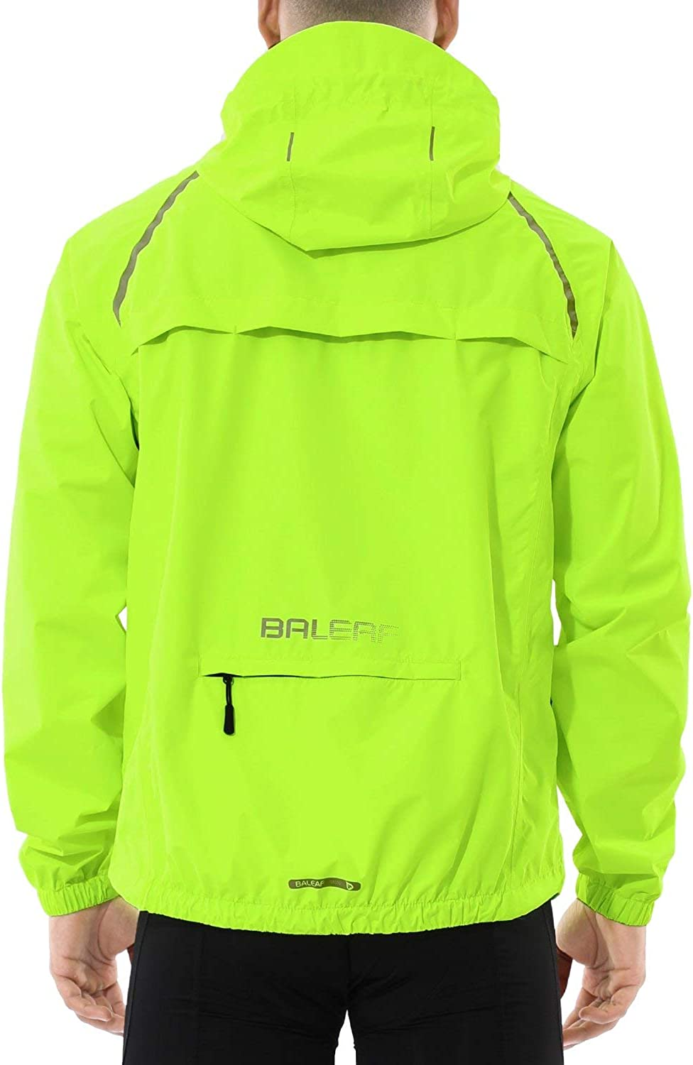BALEAF Men's Cycling Running Jacket Waterproof Reflective Lightweight Windbreaker Windproof Bike Jacket Hooded Fluorescent Yellow Size M: Clothing