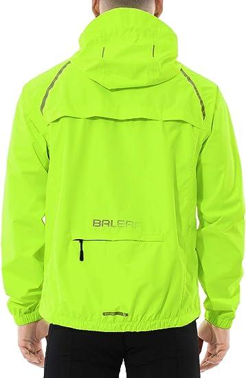 BALEAF Men's Cycling Running Jacket Waterproof Reflective Lightweight Windbreaker Windproof Bike Jacket Hooded Packable