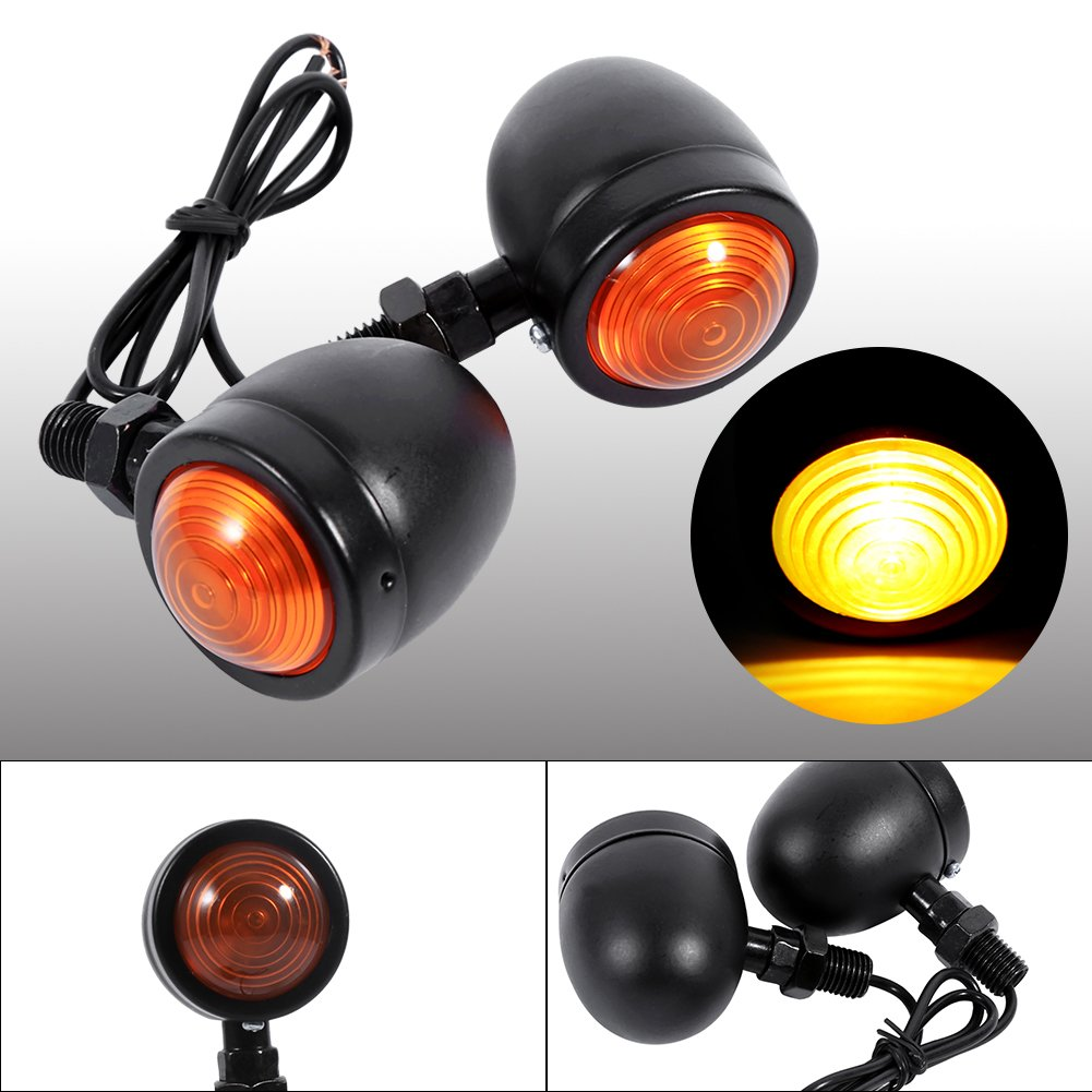 12V 3W Motorcycle Turn Signal Light 2 pcs//pair Motorbike Brake Lights Driving Spot Lights Fog Lamps Headlights Bullet Front Rear Blinker Indicator Light Black Shell