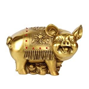 "Brass Feng Shui Money Pig Statue 4.7""(L) Attract Wealth Chinese Zodiac Sculpture Home Decoration Collectible PTZY039"