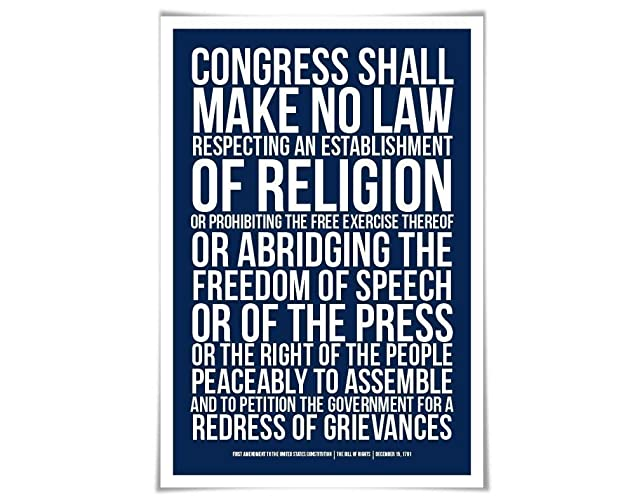 amazon com first amendment us constitution bill of rights art print