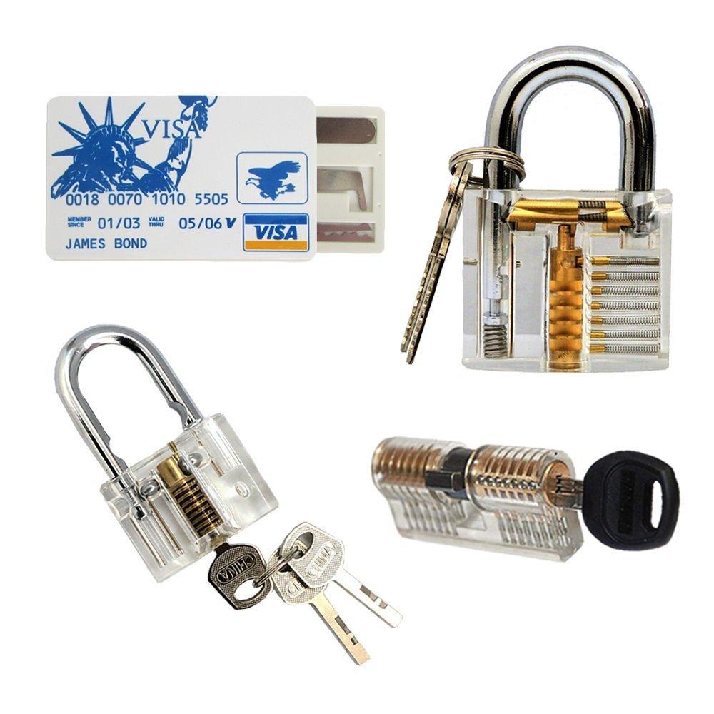jalopytrade 3 tipos comunes de cerraduras transparente Cutaway cristal Pin vaso candado de llave Set: Amazon.es: Bricolaje y herramientas
