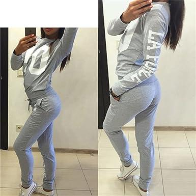 Hibote Abbigliamento Sportivo Donna Tuta sportiva Morbida comoda Fitness  Yoga Tute pullover a maniche lunghe Pantaloni 2 pezzi Vestiti Set Felpa +  sportiva ... d70d454cb41