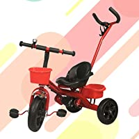 GoodLuck Baybee - 2 in 1 Convertible Baby Tricycle Kid's Trike with Parental Adjust Push Handle Children Tricycle with Seat Belt Kid's | Suitable for Boys & Girls - (1 to 5 Years) - Red