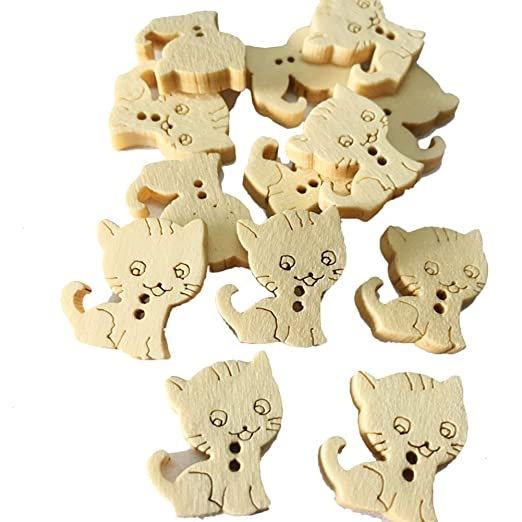 Dylandy 100 piezas de botones de madera con forma de animal ...