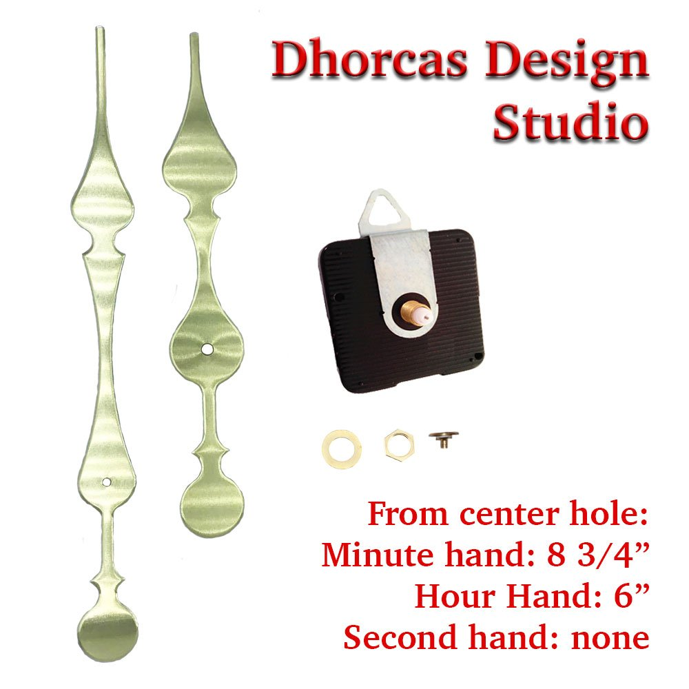 Dhorcas (#01G) 3/16'' Threaded Motor and Curvy Long Gold 8 3/4'' Hand with Hanger, Quartz Clock Movement and Replacement Motor kit (3/16'' Thread Shaft with Hanger)