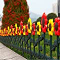 Sungmor Pack of 4 Garden Picket Fence,98 Inch Sunflower Plastic Edgings,Grass Lawn Flowerbeds Plant Borders,Landscape Path Panels