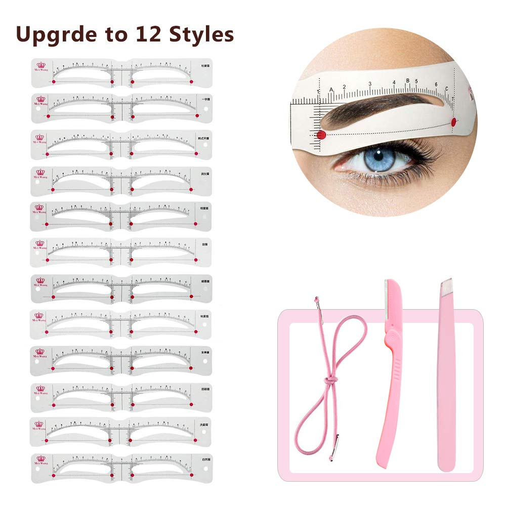 Eyebrow Stencil,Eyebrow Shaper Kit, with Strap Eyebrow Drawing Guide Card eyebrow Grooming Stencil with 12 Styles Extremely for Women Girls Favors