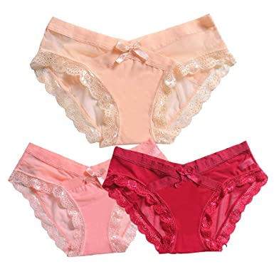 7e84002d4eb Wendy 3 Piece Large Size Women s Sexy lace Low Waist Thong Underwear  Underwear (M