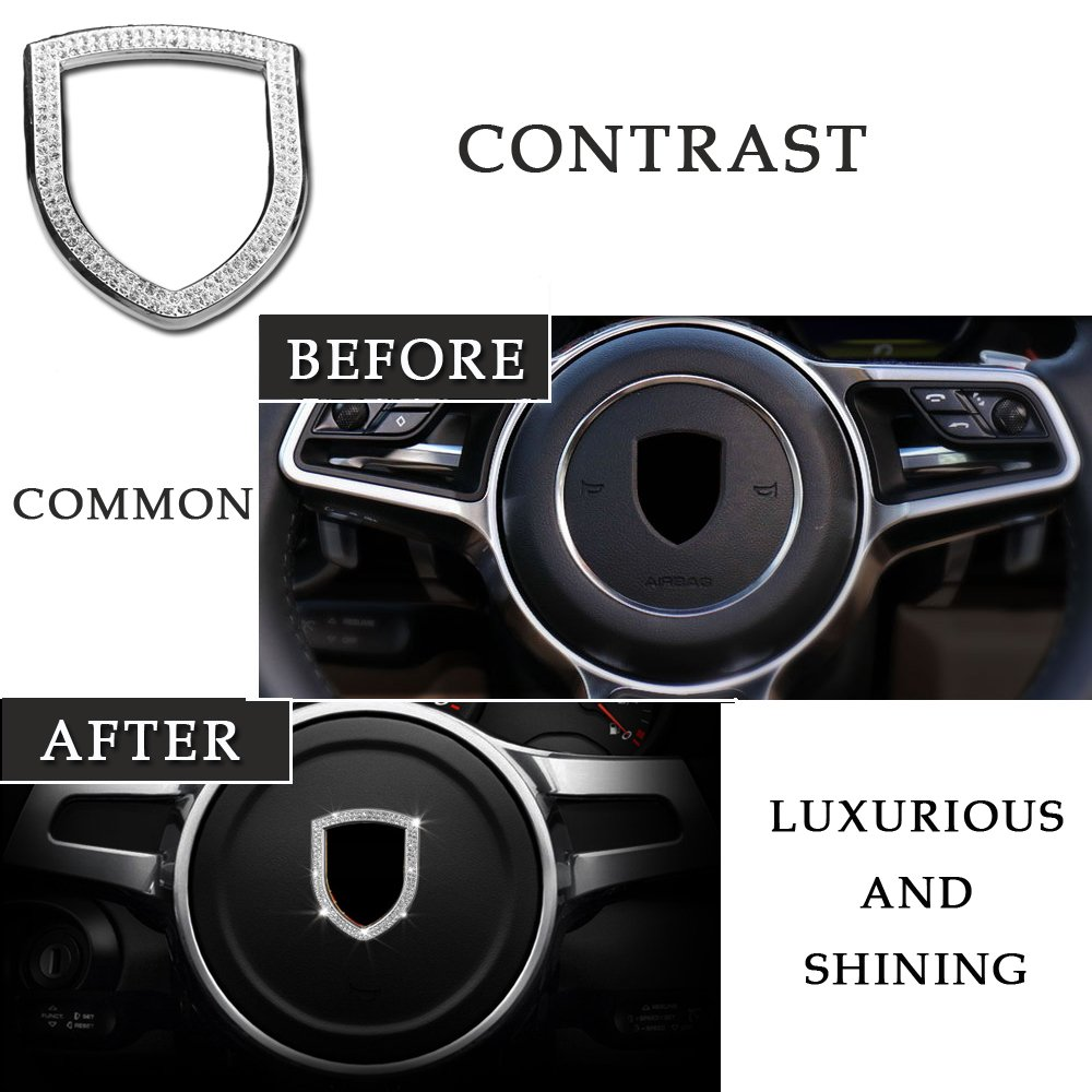 1797 Steering Wheel Center Decoration Cover Porsche Accessories Cayenne Macan Panamera Boxster Cayman 911 718 Interior Modification Crystal Generic Silver 1pc