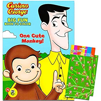 curious george coloring book with stickers 96 page coloring book one cute monkey - Curious George Coloring Book In Bulk