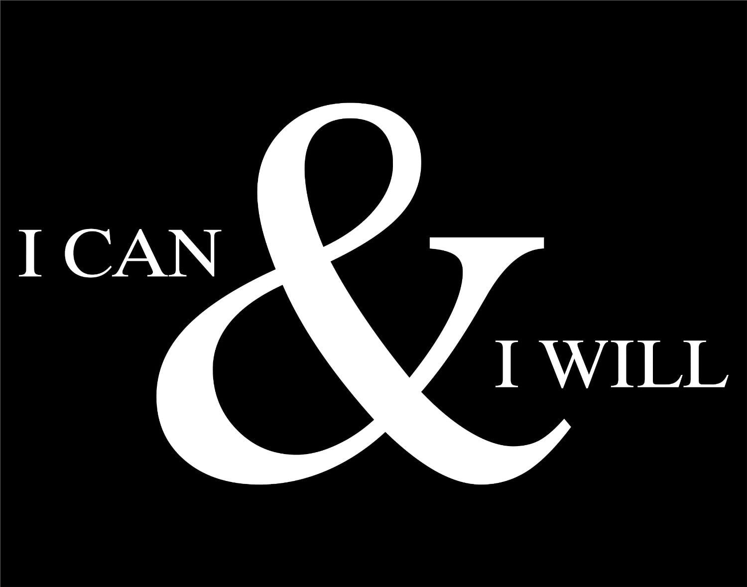 Wall 7 X 4 in Decal Car School Locker Room Truck KEEN I CAN and I Will Decal Motivational White Laptop