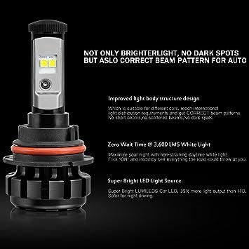 Nineo - Bombillas LED para faro delantero, kit de conversión -9005 9007 H1 H4 H7 H11 6000 K: Amazon.es: Coche y moto