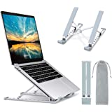 """Laptop Stand, Laptop Holder Riser Computer Stand, Aluminum 9-Angles Adjustable Ventilated Cooling Notebook Stand Mount Compatible with MacBook Air Pro, Lenovo, Dell, More 10-15.6"""" Laptops - Silver"""