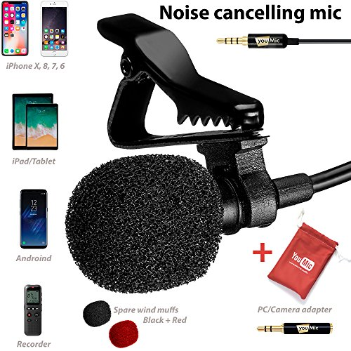 System Lapel Mic (Lavalier Lapel Microphone with Easy Clip On System - Perfect for Recording Youtube Vlog Interview/Podcast - Best Lapel Mic for iPhone 5, 6, 6s, 7, 7 plus, 8, X iPad iPod Android Mac PC ASMR)