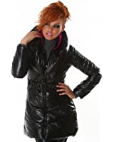 Stylish wet look quilted jacket black (WS-829)