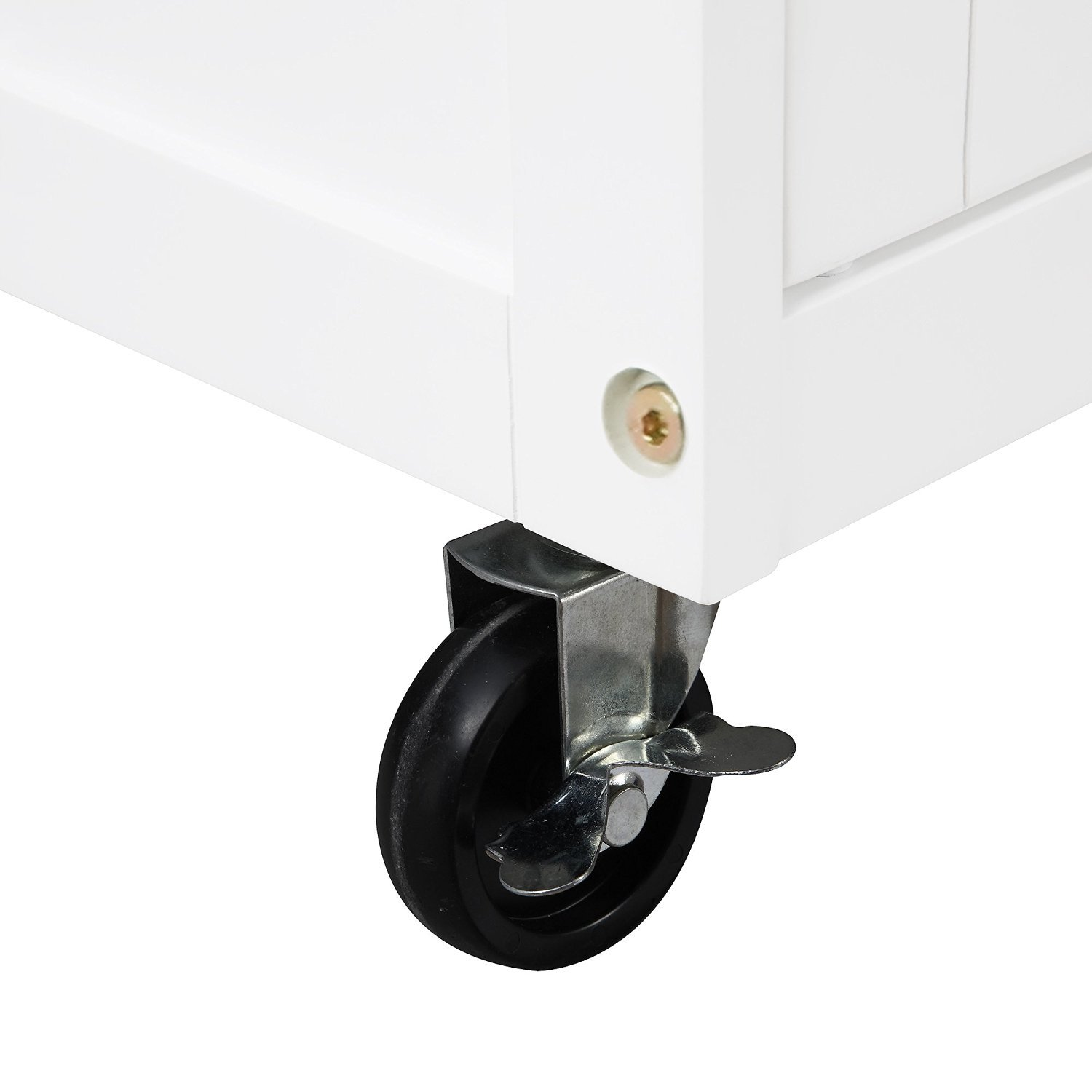 Kitchen Cart Rolling Island Storage Unit Cabinet Utility Portable Home Microwave Wheels Butcher Wood Top Drawer Shelf (White) by Mainstay (Image #5)