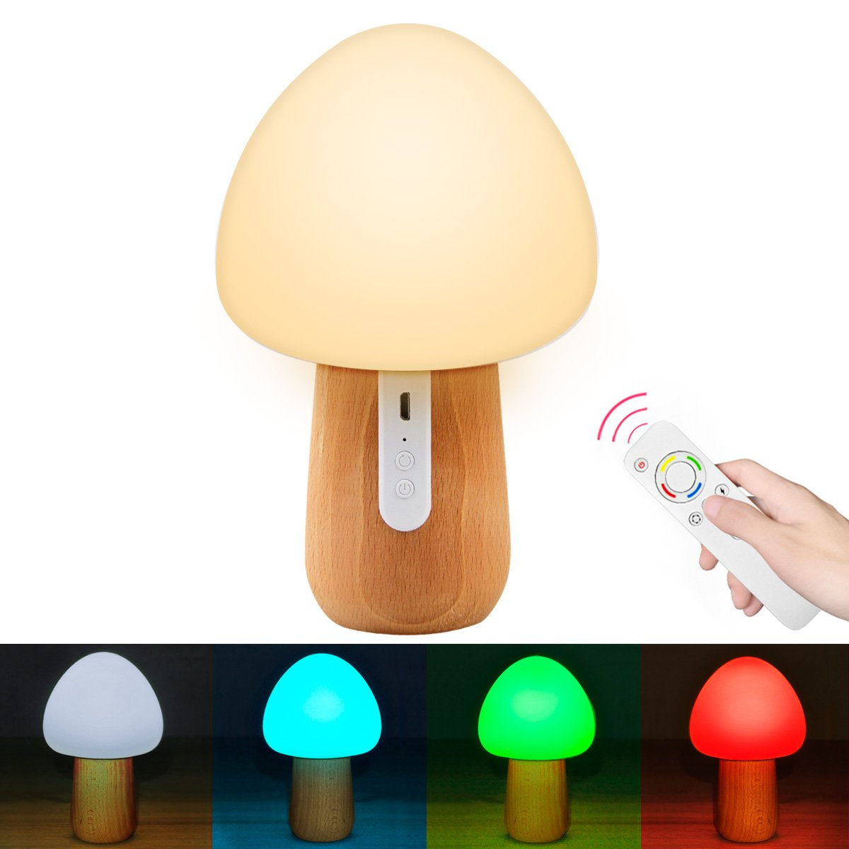 Remote Control Night Light, Mystery 100% Beech Wooden Eye-Caring LED Mushroom Nursery Lamp, Soft Silicone Relaxing Nightlight for Baby Kids Adults Bedroom (Brightness Adjustment & Colors Cycles)