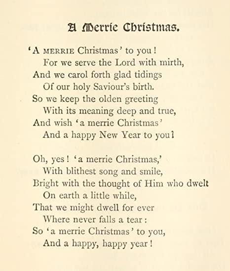 Amazon.com: The Poetical Works 1880 A Merrie Christmas Poster Print ...