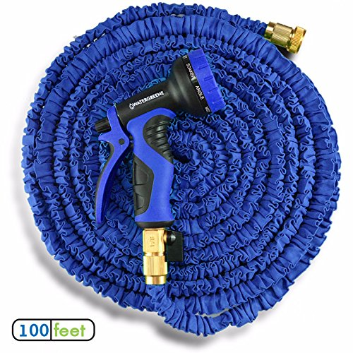 100 foot Blue Lightweight Extendable WATERGREENE garden hose pipe - flexi water hoses extend up to 100 feet (100ft) - set includes tap connections and hand sprayer nozzle - FULLY (Extendable Hose)