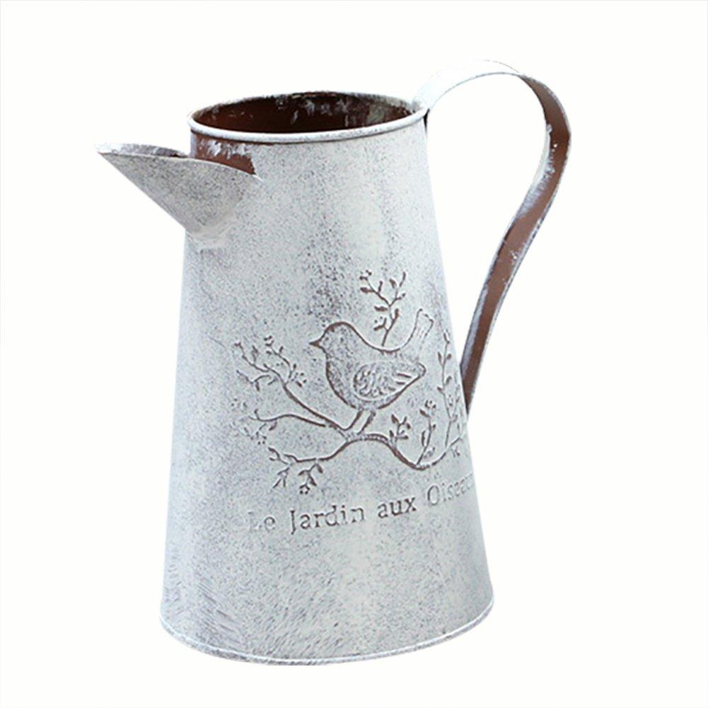 Sundlight Flower Vase Can, Antique Iron Sheet Pitcher Flower Vase Retro Watering Cans for Garden Home Decor