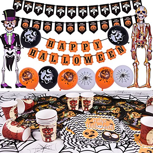 Halloween Party Supplies Cute Fun Party Favors Decoration All-in-One Pack for Kids Theme Party Include Paper Plate, Cup, Balloon, Table Cloth, Banners and Hanging Skeleton Props 88 PCs (1 Halloween Decorations)