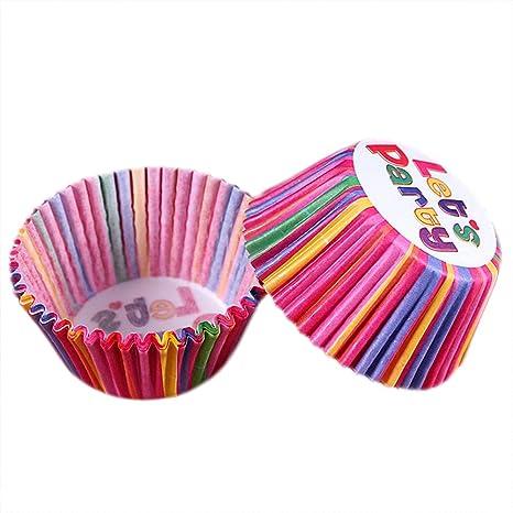Leisial 100pcs Molde Cajas de Pastel Galletas Papel Copa de Horneado Color del Arco Iris DIY