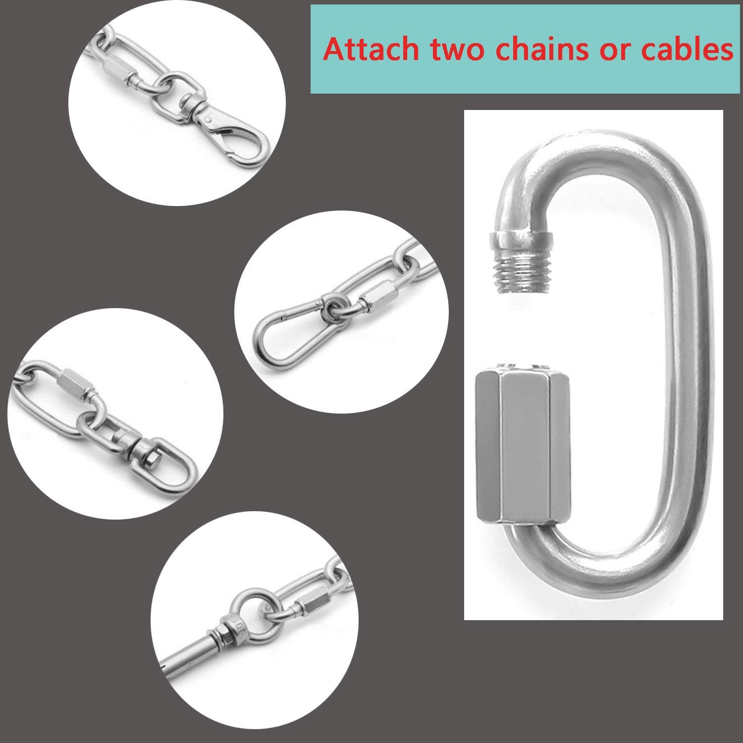 4pcs M8 Stainless Steel Quick Link D Shape Chain Links Connector 5//16 Small Climbing Lock Carabiner