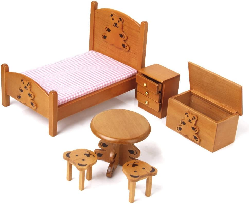 Dollhouse Miniature Furniture Wooden Childrens Bedroom set 8/82
