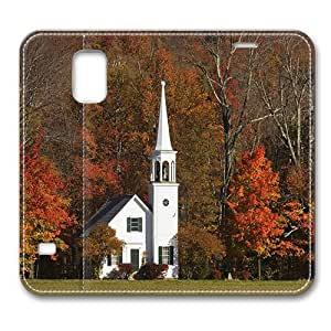 Leather Samsung Galaxy S5 Flip Case Cover, Wonalancet Chapel And Autumn Color Wonalancet New Hampshire Samsung Galaxy S5 Full Body Protector Leather Flip Folio Case Cover, Original Design And Made By PhilipHayes