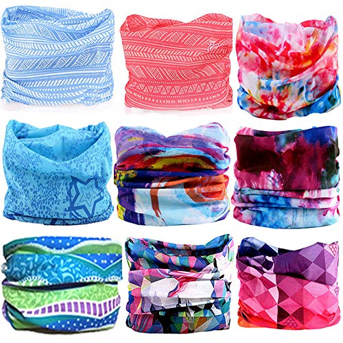 KALILY 9PCS Headband Bandana - Versatile 12-in-1 Sports & Casual Headwear –Multifunctional Seamless Neck Gaiter, Headwrap, Balaclava, Helmet Liner, Face Mask for Camping, Running, Cycling, Fishing ()