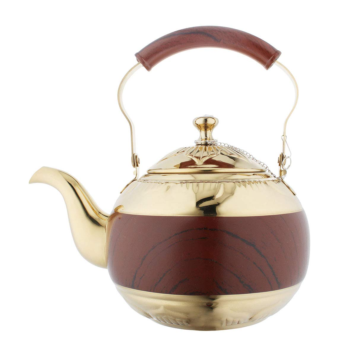 OMGard Gold Tea Pot with Infuser Loose Tea Leaf Filter 1.5 Liter Stainless Steel Teapot Coffee Water Small Kettle Strainer Set Warmer Teakettle for Stovetop Induction Stove Top 1.6 Quart 51 Ounce
