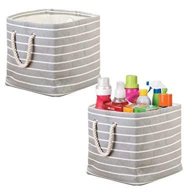mDesign Fabric Laundry Collapsible & Convenient Storage Basket or Bin with Rope Handles for Detergent, Dryer Sheets, Stain Remover - Pack of 2, Gray/Cream