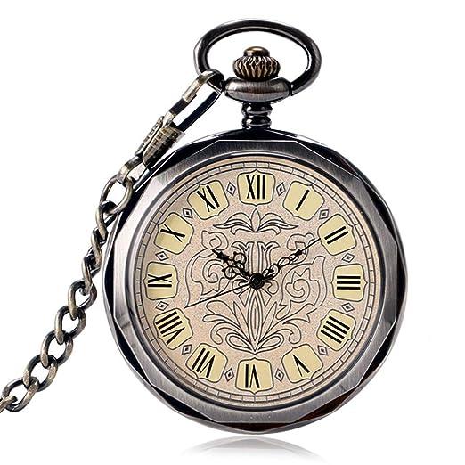 Relojes de Bolsillo mecánicos para Hombre, Color Gris Oscuro, con Cortavientos, Reloj de Bolsillo Steampunk: Amazon.es: Relojes