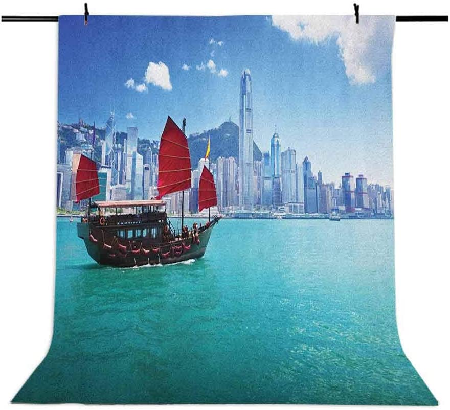 7x10 FT Ocean Vinyl Photography Backdrop,Hong Kong Harbour Small Traditional Junk Boat with Flags Buildings Skyline and Sea Background for Baby Birthday Party Wedding Studio Props Photography