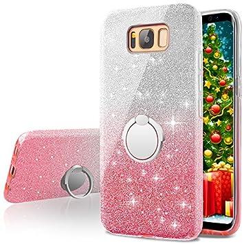 Miss Arts Funda Galaxy S8 Plus, Carcasa Brillante Brillo con Soporte Giratorio de 360 Grados, Cubierta Exterior de TPU Suave + armazón Interior de PC ...