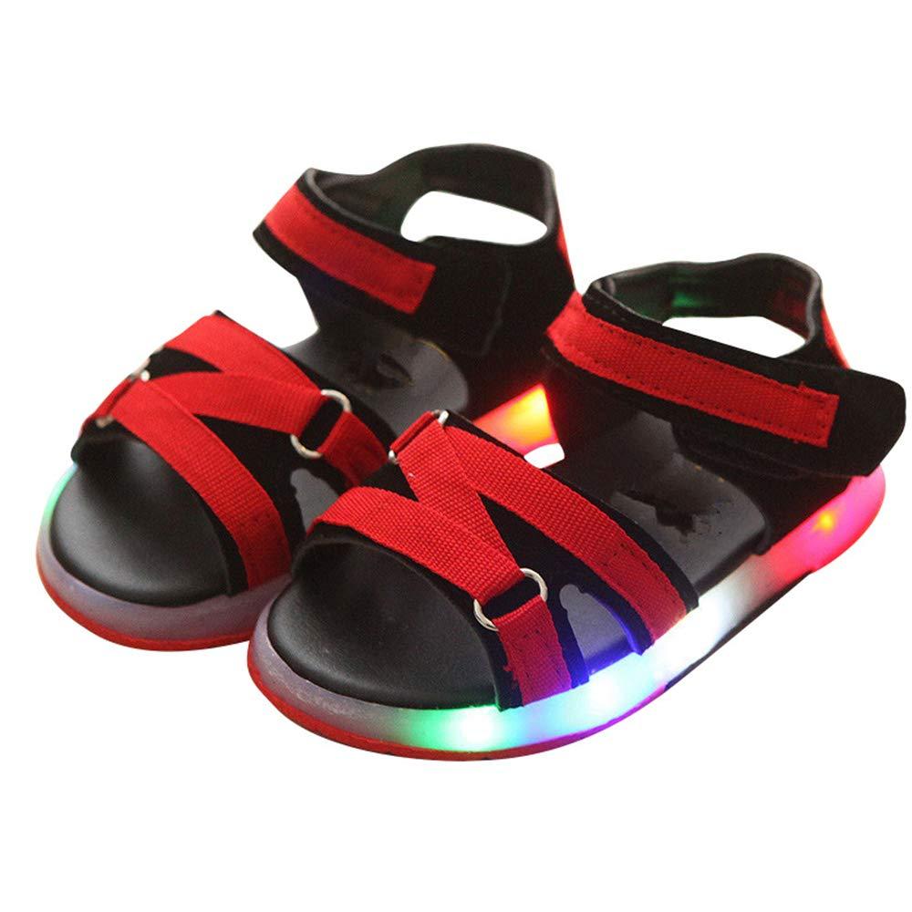 Kids Baby Boys Girls Sport Summer Light-up Sandals LED Luminous Flat Shoes Sneakers