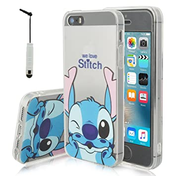 45b28261ce1 Tienda vcomp® Transparente Silicona TPU Funda Carcasa con diseño de Dibujos  Animados Disney para Apple iPhone 5/5s/SE + Mini Lápiz - Stitch: Amazon.es:  ...