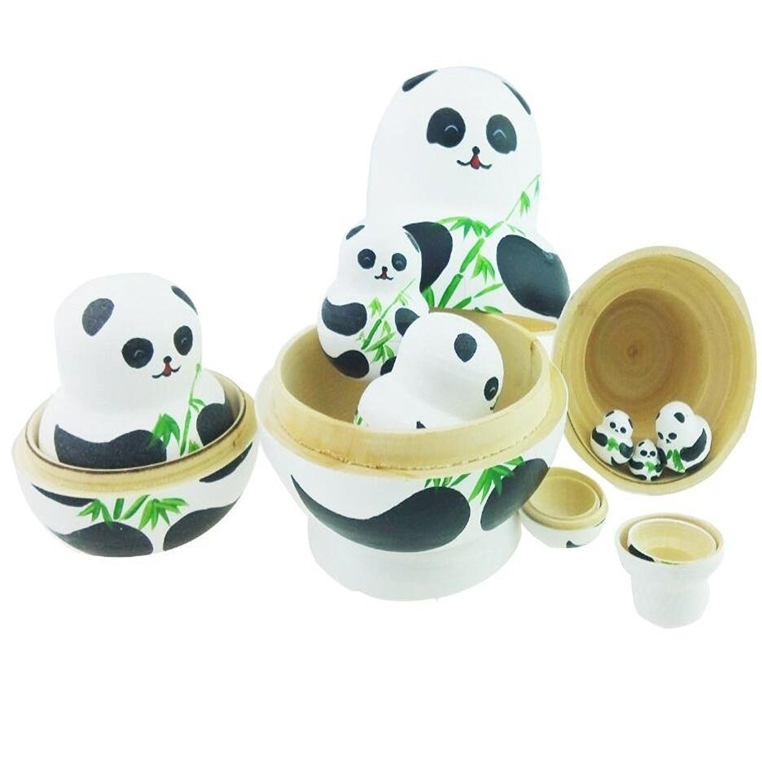 Unigift Cute Animal Panda with Bamboo Handmade Wooden Russian Nesting Dolls Matryoshka Dolls Set 10 Pieces for Kids Toy Home Decoration by Unigift (Image #2)