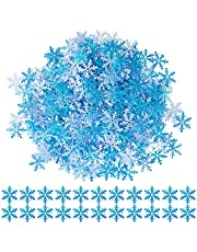GWHOLE 600Pcs Snowflakes Confetti for Christmas Glittered Snowflake Ornaments for Xmas Wedding Holiday Party Table Decorations Supplies,Blue