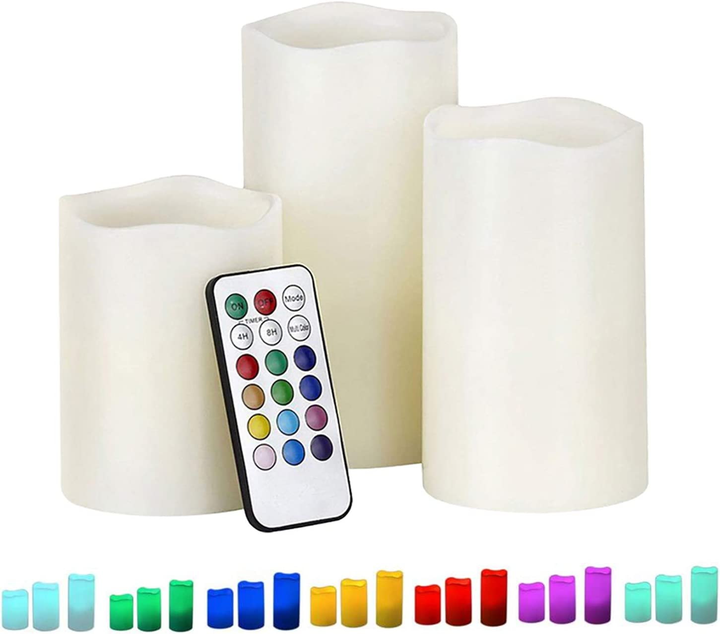 Dreamiracle LED Candle Lights Set of 3 12 Colours Changing Flameless Candle Battery Operated with 18 Keys Remote Control /& Timer